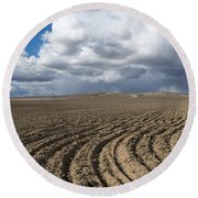 Furrows Before The Storm Round Beach Towel