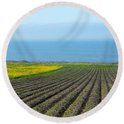 Furrows To The Sea Round Beach Towel