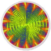Futuristic Disc Blue Red And Yellow Fractal Flame Round Beach Towel