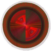Futuristic Green And Red Tech Disc Fractal Flame Round Beach Towel