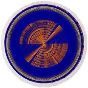 Futuristic Tech Disc Blue And Orange Fractal Flame Round Beach Towel