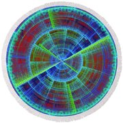Futuristic Tech Disc Red And Blue Fractal Flame Round Beach Towel