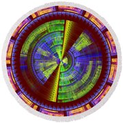 Futuristic Tech Disc Red Green And Yellow Fractal Flame Round Beach Towel
