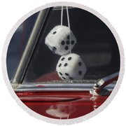 Fuzzy Dice 2 Round Beach Towel