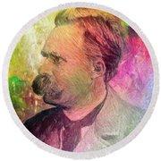 F.w. Nietzsche Round Beach Towel