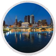 Fx2l472 Columbus Ohio Night Skyline Photo Round Beach Towel