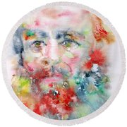 Fyodor Dostoyevsky - Watercolor Portrait.4 Round Beach Towel