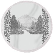 Mountain Walk Border Round Beach Towel