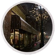 G Street Antique Store In The Snow Round Beach Towel