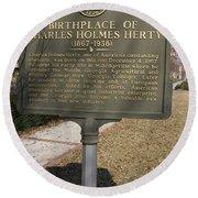 Ga-005-10 Birthplace Of Charles Holmes Herty 1867-1938 Round Beach Towel