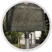 Ga-029-101 Old Athens Cemetery Round Beach Towel