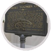 Ga-029-15 Robert Toombs Oak Round Beach Towel
