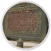 Ga-108-2 Birthplace Of Bishop A. G. Haygood And Miss Laura A. Haygood Round Beach Towel