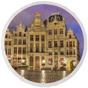 Gabled Buildings In Grand Place Round Beach Towel