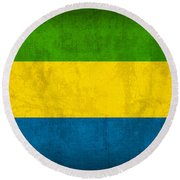 Gabon Flag Vintage Distressed Finish Round Beach Towel