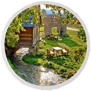 Gacka River Spring Watermill And Historic Ruins Round Beach Towel
