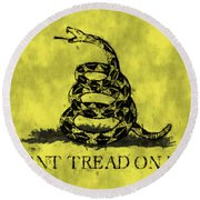 Gadsden Flag - Dont Tread On Me Round Beach Towel