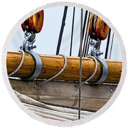 Gaff And Mainsail Round Beach Towel by Marty Saccone