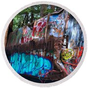 Gaffiti In The Candian Forest Round Beach Towel