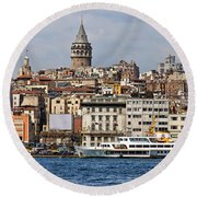 Galata Tower 03 Round Beach Towel
