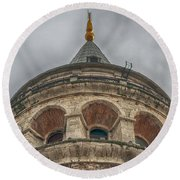 Galata Tower Istanbul Round Beach Towel by Antony McAulay