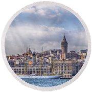 Galata Tower Istanbul Round Beach Towel