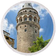 Galata Tower Landmark In Istanbul Turkey Round Beach Towel