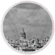 Galata Tower Mono Round Beach Towel