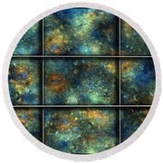 Galaxies II Round Beach Towel by Betsy Knapp