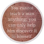 Galileo Quote Science Astronomy Math Physics Inspirational Words On Canvas Round Beach Towel