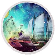 Galileo's Dream - Schooner Art By Sharon Cummings Round Beach Towel