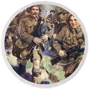 Gallant Piper Leading The Charge Round Beach Towel by Cyrus Cuneo