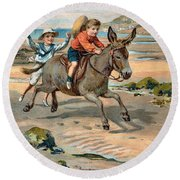 Galloping Donkey At The Beach Round Beach Towel