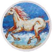 Galloping Horse On Beach Round Beach Towel