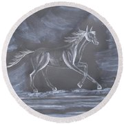 Galloping Horse Round Beach Towel
