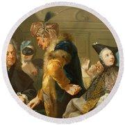 Gamblers In The Foyer Round Beach Towel by Johann Heinrich Tischbein