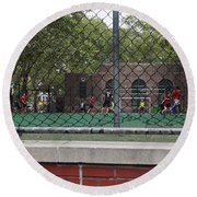 Game Behind The Fence Round Beach Towel
