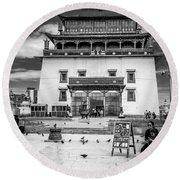 Gandantegchenling Monastery Round Beach Towel