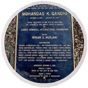 Gandhi Plaque Round Beach Towel
