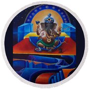 Ganesha Round Beach Towel