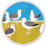 Gang Of Gulls On The Beach Round Beach Towel