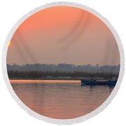 Ganges Sunset Round Beach Towel