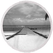 Gangplank Of Perfection Black And White Round Beach Towel