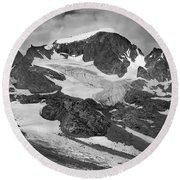 509427-bw-gannett Peak And Gooseneck Glacier, Wind Rivers Round Beach Towel