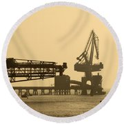 Gantry Crane In Port Round Beach Towel