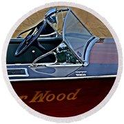 Gar Wood Boat Round Beach Towel