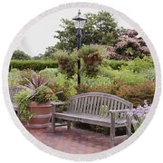 Garden Benches 6 Round Beach Towel