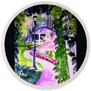 Garden City Gazebo Round Beach Towel