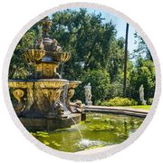 Garden Fountain - Iconic Fountain At The Huntington Library And Botanical Ga Round Beach Towel