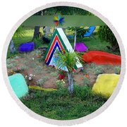 Garden Galaxy Round Beach Towel